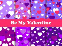 Valentine`s day. 14 February. Seamless pattern set with hearts. Festive background for greeting card, banner and poster. Vector. Illustration Stock Photography