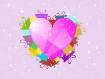 Valentine`s Day, a festive background with hearts and gifts. Vector. Illustration Stock Images