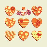 Valentine`s Day. Festive set of hearts. Stickers, emblems. Templates decorated with geometric figures, hearts for Valentine`s Day Stock Photos