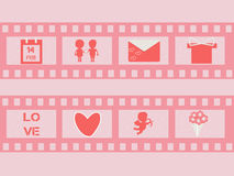 Valentine's day film strip. With cupid,  hearts, bunch of flowers, present, cuple; calendar; envelope and letters. Wedding film strip. Vector illustration Royalty Free Stock Photos