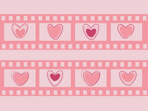 Valentine's day film strip. With hearts. Wedding film strip. Vector illustration Stock Images