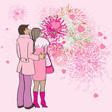 Valentine s day fireworks. Valentine's Day card, cartoon hand drawn illustration of two lovers watching fireworks and hearts in the sky Royalty Free Stock Images