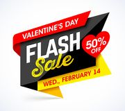 Valentine`s Day Flash Sale bright banner design. Template, 50% off, Wednesday February 14 Stock Photos