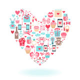 Valentine's Day flat icons arrange in the form of heart. Royalty Free Stock Photography