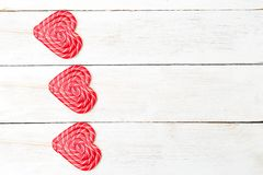 Valentine`s day. holidays card with lollipop Stock Images