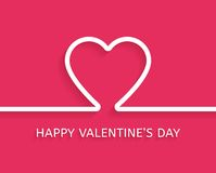 Valentine's Day flat style greeting card. Vector Stock Image