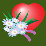 Valentine`s Day flower flat icon with long shadow, Royalty Free Stock Photos