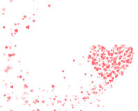 Valentine's day with flying hearts stock image