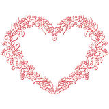Valentine's day folk embroidery and cutout  inspired heart shape Royalty Free Stock Photography