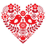 Valentine`s Day folk pattern with birds and flowers - Finnish inspired. Heart shape background - Scandinavian, Nordic style  isolated on white Royalty Free Stock Image