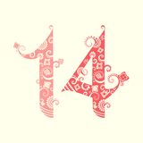 Valentine's Day, fourteen ornate numbers.  royalty free illustration