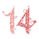 Valentine's Day, fourteen ornate numbers Stock Photography