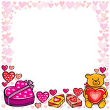 Valentine's Day Frame. Frame Valentine's Day with pink hearts, teddy bear and chocolates Stock Photography