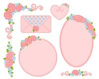 Valentine`s day frame with flowers for design Stock Image