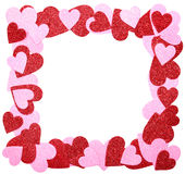 Valentine's Day Frame. Red and Pink Glitter Hearts isolated on w Royalty Free Stock Images