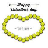 Valentine`s Day and Frame from tennis balls Royalty Free Stock Photos