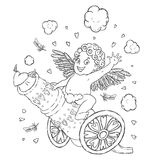 Valentine`s day. Funny Cupid-boy riding on a cannon firing hearts. Vector illustration isolated on white. Coloring page Royalty Free Stock Photography