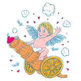 Valentine`s day. Funny Cupid-boy riding on a cannon firing hearts. Vector illustration isolated on white. T-shirt printing Royalty Free Stock Photography