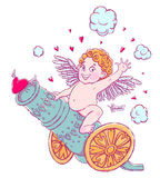 Valentine`s day. Funny Cupid-boy riding on a cannon firing hearts. Vector illustration isolated on white. T-shirt printing Royalty Free Stock Photo