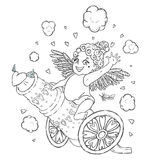 Valentine`s day. Funny Cupid-girl riding on a cannon firing hearts. Vector illustration isolated on white. Coloring page Stock Images
