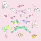 Valentine`s day funny doodle vector set. The vector picture. EPS 8 Stock Photos