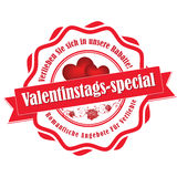 Valentine`s Day  German sticker / label Royalty Free Stock Photos