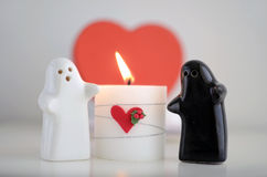 Valentine´s Day Ghosts with Candle and Hearth Royalty Free Stock Image