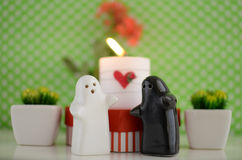 Valentine´s Day Ghosts Wedding with Candle, Flowers and Hearth Royalty Free Stock Photos