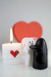Valentine´s Day Ghosts Wedding with Candle and Hearth Royalty Free Stock Photo