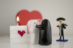 Valentine´s Day Ghosts Wedding with Candle, Mariachi and Heart Stock Photos