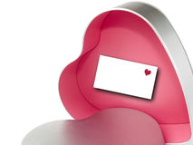 Valentine's Day gift-box. Valentine's gift-box in the shape of a heart and with a pink interior and a paper for text in it. Valentine's Day theme Stock Image
