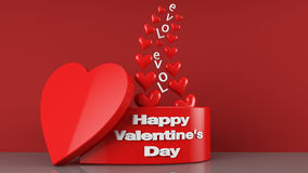 Valentine's Day Gift Box. 3d Render Of love and Valentine's Day Gift Box Royalty Free Stock Photo