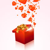 Valentine's day gift box with red hearts Stock Photos