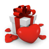 Valentine's Day gift box with red hearts. Gift box with one large and six small hearts around it Stock Photography