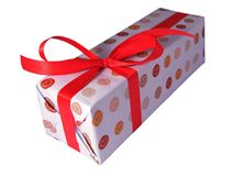 Valentines day gift box. Valentines gift box with red ribbon and hearts paper on isolated background Stock Images