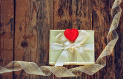 Valentine's day gift box and ribbon Royalty Free Stock Images