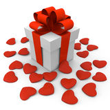 Valentine's Day gift box with small hearts Royalty Free Stock Images