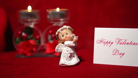 Valentine's Day Gift, Candles and Angel 4K. Valentine Day Gift, Candles and Angel stock footage