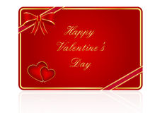 Valentine's day gift card. With hearts and bow Royalty Free Stock Photo