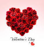 Valentine's Day Gift Card. Heart made of red roses. Stock Photo