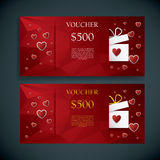 Valentine's day gift card voucher template present and space for your text. Horizontal red low poly vector background. Royalty Free Stock Photography