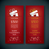 Valentine's day gift card voucher template with Stock Image