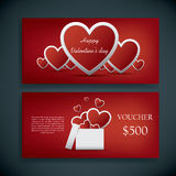 Valentine's day gift card voucher template with Royalty Free Stock Image