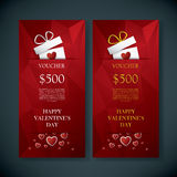 Valentine's day gift card voucher template with traditional background, present and space for your text. Red low poly. Background. Eps10 vector illustration Royalty Free Illustration