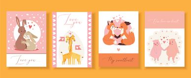 Valentine s day gift cards with cute animals in love,kissing cartoon rabbits, foxes,pigs and birds vector illustration. Greeting cards with text Love you, My stock illustration
