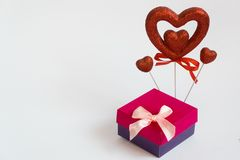 Valentine`s day gift heart Valentine`s day and a gift royalty free stock photos