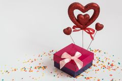 Valentine`s day gift heart Valentine`s day and a gift royalty free stock images