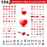 Valentine`s day, gift, love and heart icon pack stock illustration