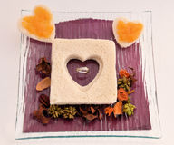 Valentine`s Day Gift. Ring included in breakfast valentine`s day Stock Photography