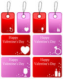 Valentine s Day Gift Tags Set. Collection of eight colorful St. Valentines or Saint Valentine s Day gift tags, isolated on white background. Eps file available Stock Photo